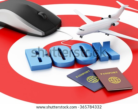 3d renderer illustration. Online booking concept. Computer mouse and airplane on target. - stock photo