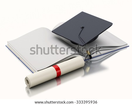 3d renderer illustration. Open book with Graduation cap and diploma. Education concept. Isolated on white background - stock photo