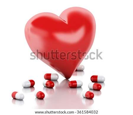 3d renderer illustration. Red heart with Pills. Valentine's day concept. Isolated white background - stock photo