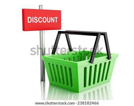 3d renderer illustration.  Shopping basket. online shop concept on white background - stock photo