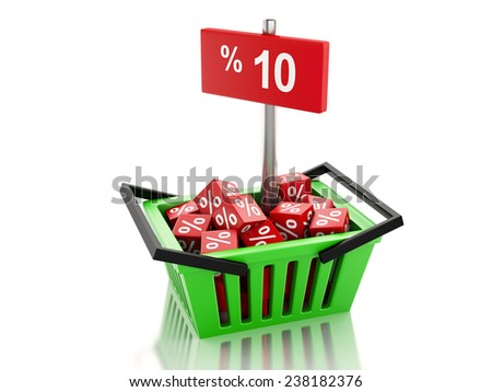 3d renderer illustration. Shopping basket with red cubes and 10 percent  on white background - stock photo