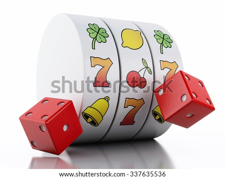 3d renderer illustration. Slot machine with dice. Casino concept. Isolated white background - stock photo