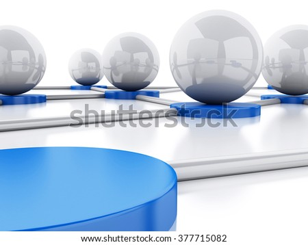 3d renderer illustration. Social network and communication. Abstract concept. Isolated white background. - stock photo
