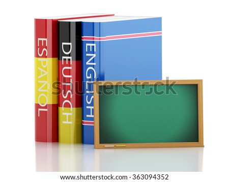 3d renderer illustration. Stack of dictionaries and Blackboard. Language learning and translate, education concept. Isolated white background - stock photo
