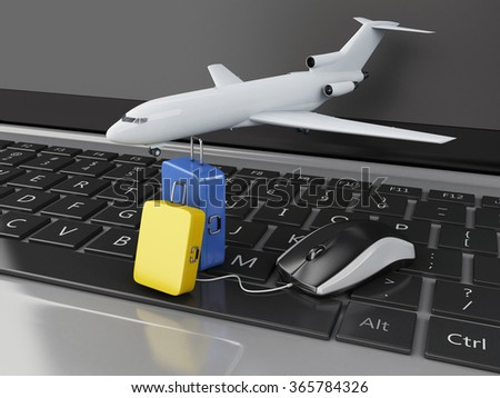 3d renderer illustration. Travel suitcase and airplane on computer keyboard. Online booking flight or travel concept. - stock photo