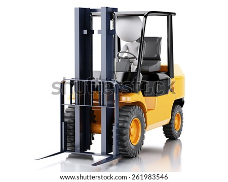 3d renderer illustration. White people driving a forklift truck. Isolated white background - stock photo