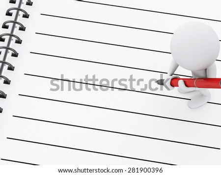 3d renderer illustration. White people with blank spiral Notepad and pen. - stock photo
