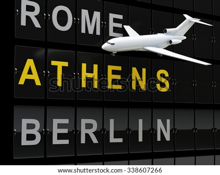 3d renderer image. Airplane and Airport board, europe destination. Travel or tourism concept. - stock photo