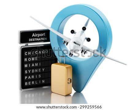 3d renderer image. Airport board, travel suitcases and airport pointer. Airline travel concept. Isolated white background