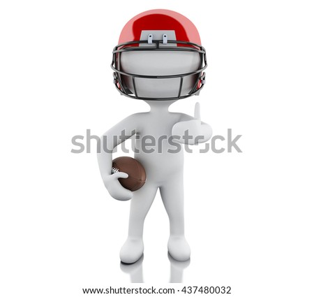 3d renderer image. American football player with ball. Sport concept. Isolated white background.