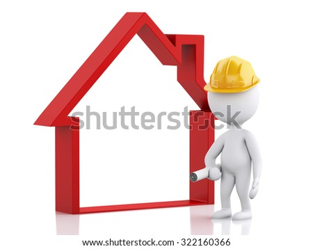 3d renderer image. Architect people with helmet, plans and house. Construction concept. Isolated white background - stock photo