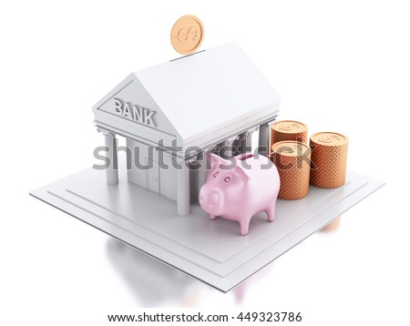 3d renderer image. Bank building with money coins and pink piggy bank. Isolated white background.