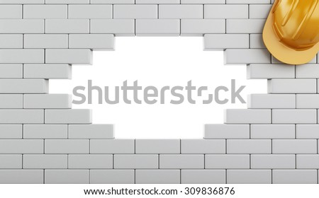 3d renderer image. Broken Brick Wall with Helmet, isolated on white background. Construction concept. - stock photo
