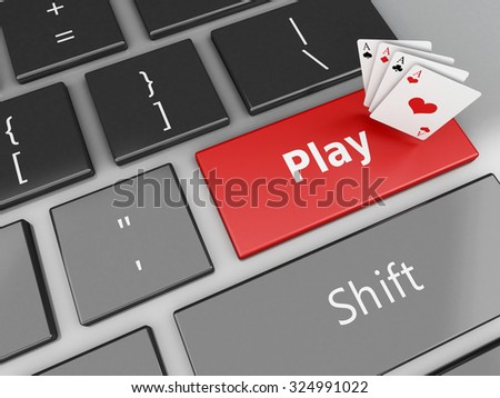 3d renderer image. Cards on the computer keyboard. Casino online games concept. - stock photo