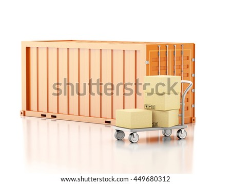 3d renderer image. Cargo container with cardboard boxes. Isolated white background.