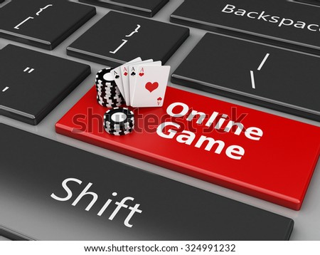 3d renderer image. Chips and Cards on the computer keyboard. Casino online games concept. - stock photo
