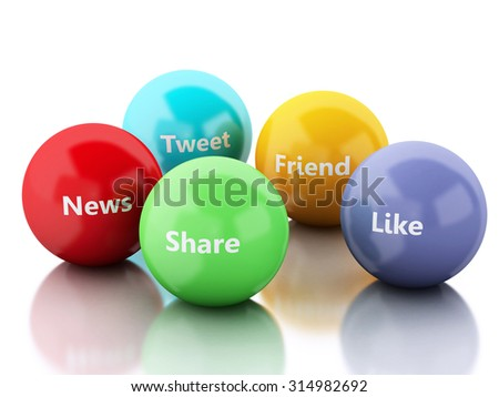 3d renderer image. color bubbles with Social media and networking concept. Isolated white background - stock photo