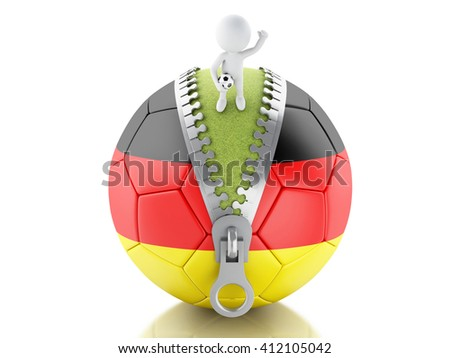 3d renderer image. 3d white people on top of soccer ball with Germany flag. Sport concept. Isolated white background. - stock photo