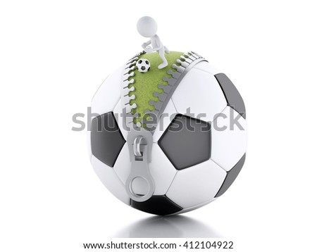 3d renderer image. 3d white people playing on top of soccer ball. Sport concept. Isolated white background.