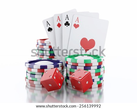 3d renderer image. Dice, cards and chips. Casino concept, isolated white background. - stock photo