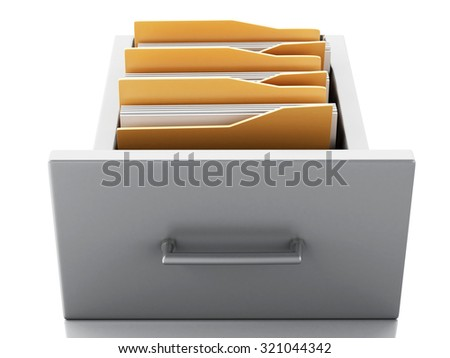 3d renderer image. File cabinet with folders. Search concept. Isolated white background - stock photo