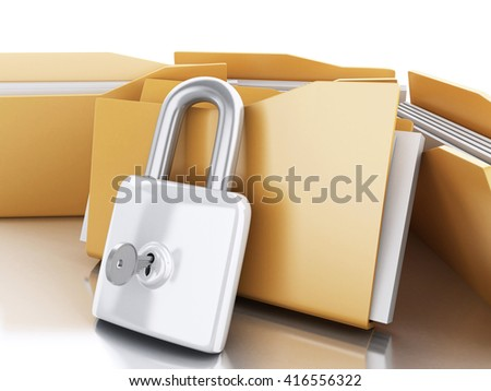 3d renderer image. Folders with padlock and key. Security concept. Isolated white background. - stock photo