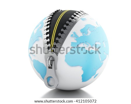 3d renderer image. Globe with zipper open and a road inside. Isolated white background. - stock photo