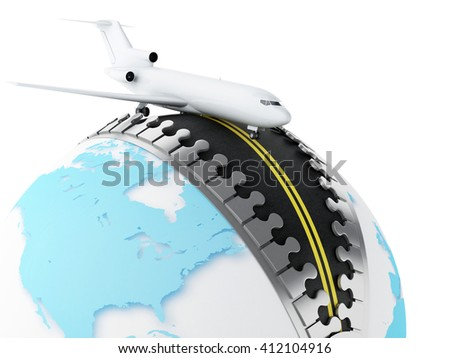 3d renderer image. Globe with zipper open and airplane on top. Travel concept. Isolated white background.