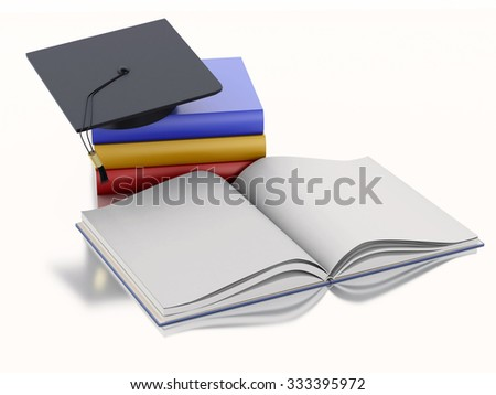 3d renderer image. Graduation cap and Books. Education concept. Isolated on white background - stock photo