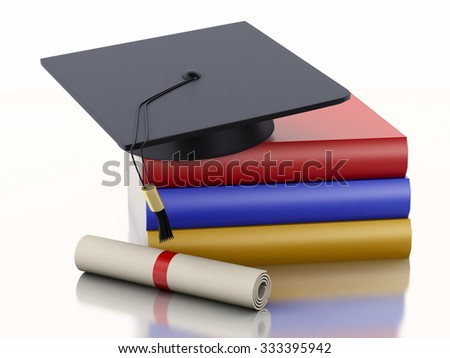 3d renderer image. Graduation cap, diploma and Books. Education concept. Isolated on white background - stock photo