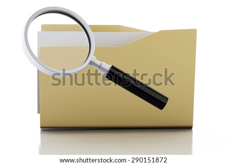 3d renderer image. Magnifier glass examine yellow folder. Search Documents Concept. Isolated white background - stock photo