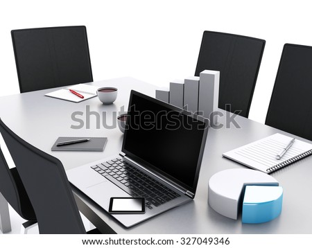 3d renderer image. Office meeting room with office accessories and laptops.  Business concept