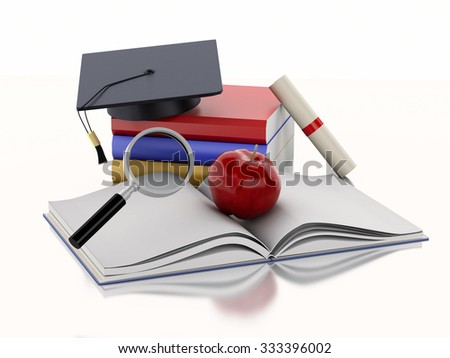 3d renderer image. Open book with an Apple, Graduation cap, diploma and stack of Books. Education concept. Isolated on white background - stock photo
