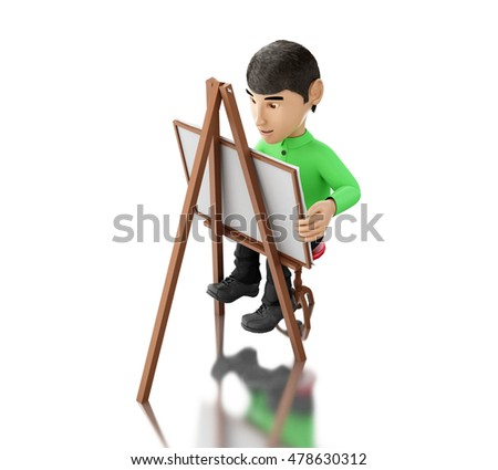 3d renderer image. People painter with an easel, isolated white background