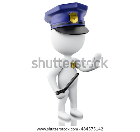 3d renderer image. Policeman ordered to stop with hand. Isolated white background.