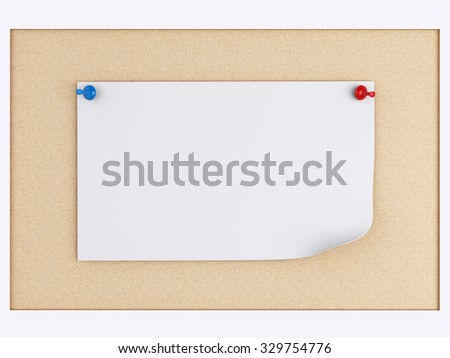 3d renderer image. Post-it notes with pushpin over cork board - stock photo