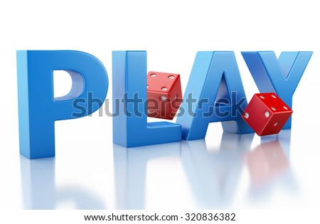 3d renderer image. Red dice. Casino concept, isolated white background. - stock photo