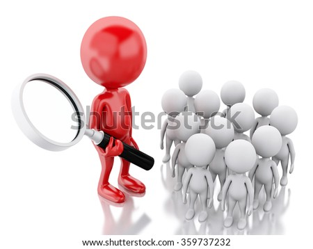 3d renderer image. Red leader selects staff. Business concept. Isolated white background - stock photo