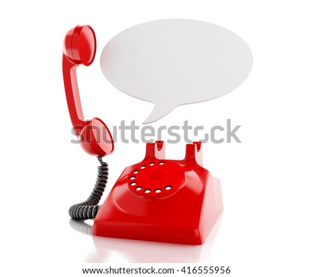 3d renderer image. Red telephone and blank speech bubble. communication concept. Isolated white background.