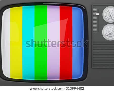 3d renderer image. Retro tv -colorful no signal background - stock photo