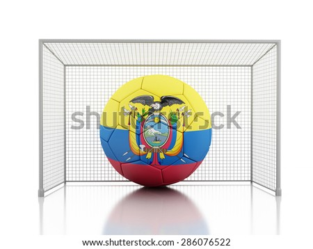 3d renderer image. Soccer ball with Ecuador flag. Isolated white background - stock photo