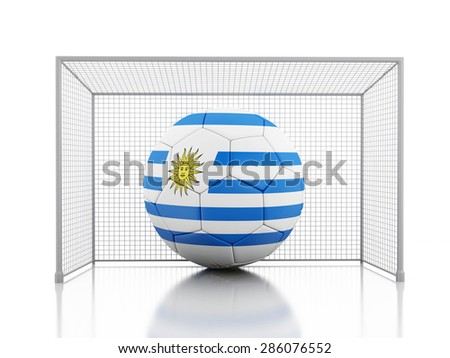 3d renderer image. Soccer ball with Uruguay flag. Isolated white background - stock photo
