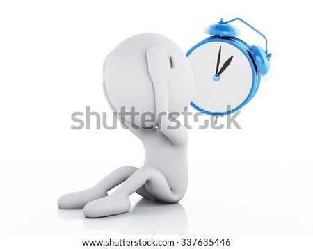 3d renderer image. Stressed white people with alarm clock on white background - stock photo