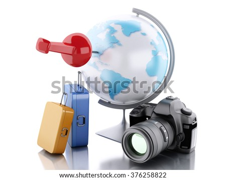 3d renderer image. Travel suitcase and world globe with pushpin. Travel vacation concept. Isolated white background - stock photo