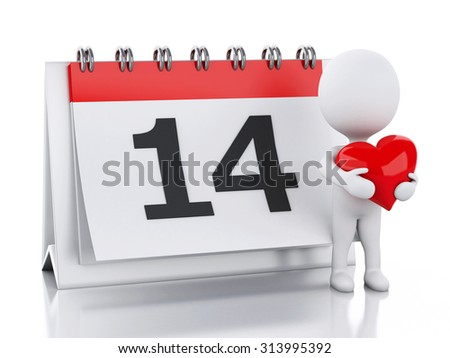 3d renderer image. Valentine's Day, February 14 in calendar. Isolated white background - stock photo