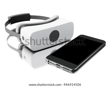 3d renderer image. virtual reality glasses with smartphone. Isolated white background.