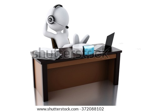 3d renderer image. White business people relax. Businessman resting in office. Isolated white background.
