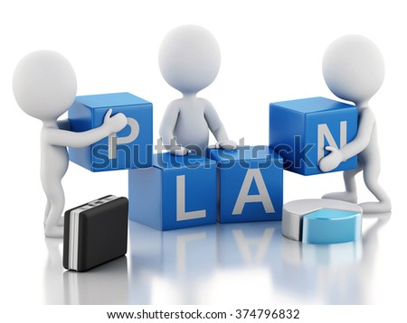 3d renderer image. White business people. Team concept. Isolated white background