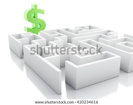 3d renderer image. White maze with dollar sign. Business concept. Isolated white background. - stock photo