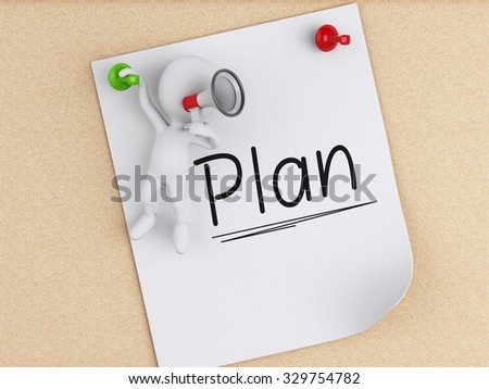 3d renderer image. White people and Post-it notes with pushpin over cork board background. Business concept - stock photo